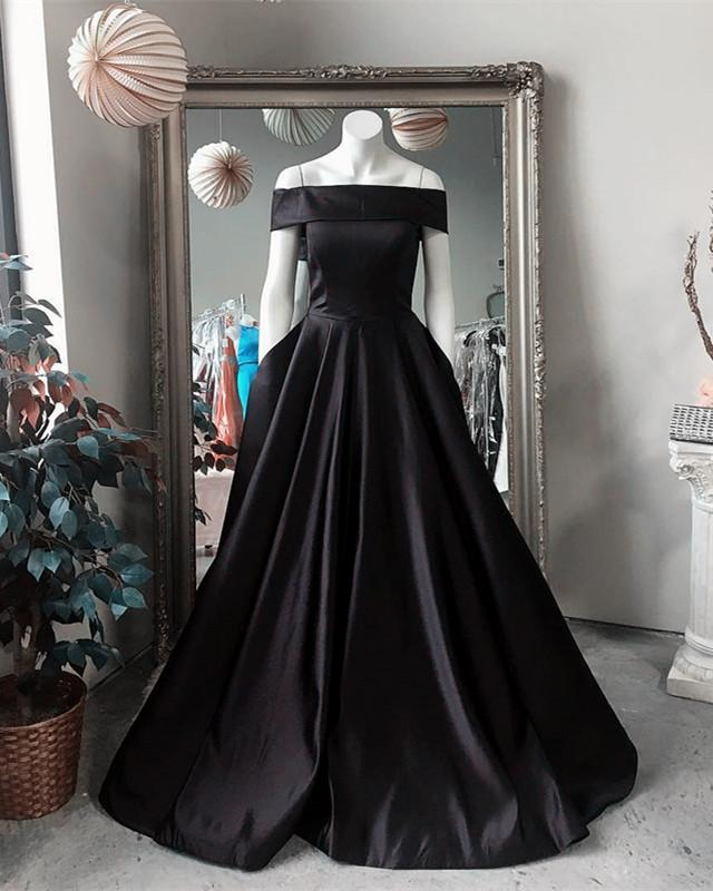 Black-Ballgowns-Prom-Dresses-2019-Long-Satin-Formal-Party-Dress