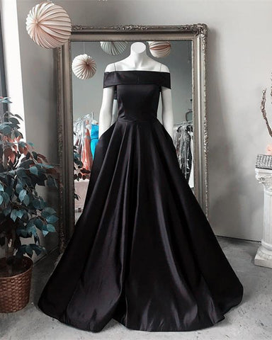 Image of Black-Ballgowns-Prom-Dresses-2019-Long-Satin-Formal-Party-Dress