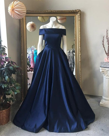 Image of Navy-Blue-Prom-Dresses-Satin-Long-Evening-Gowns-Off-Shoulder