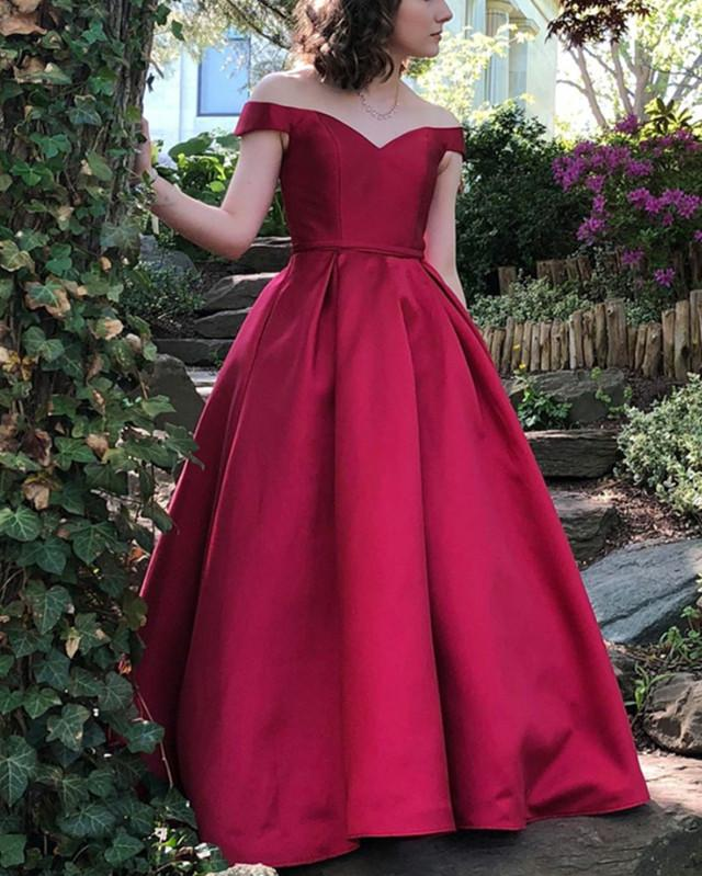 Long Satin Off-The-Shoulder Ball Gown Prom Dresses Plus Size
