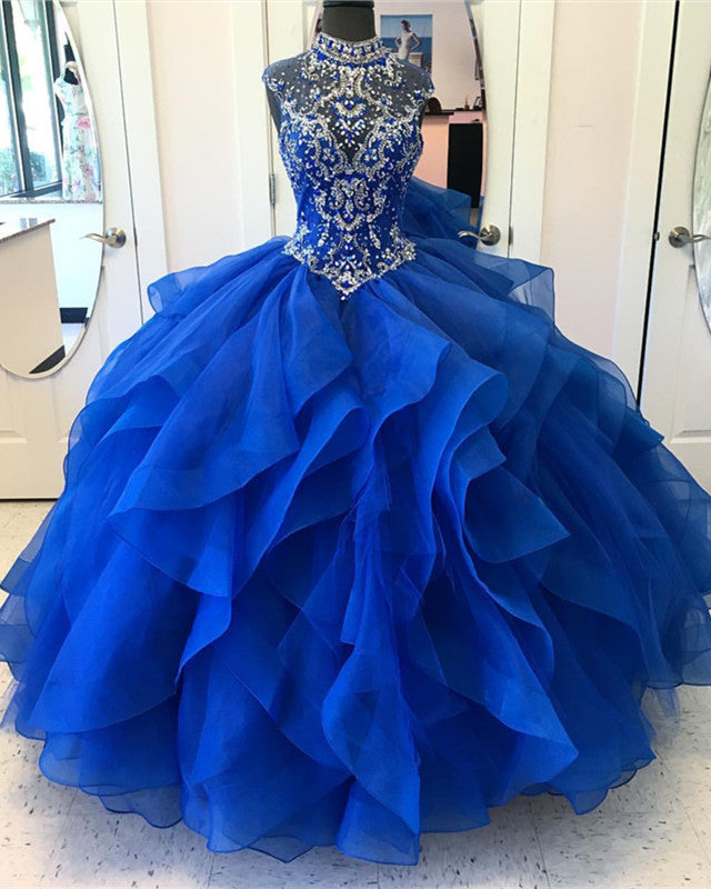 eda3cb0833 ... Beaded Organza Ruffles Ball Gowns Quinceanera Dresses 2019. Double tap  to zoom