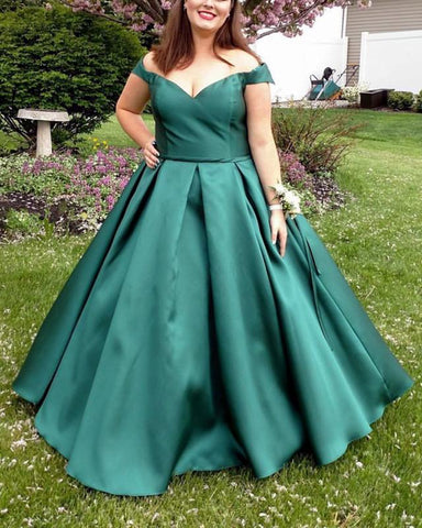 Image of Long Satin Off-The-Shoulder Ball Gown Prom Dresses Plus Size