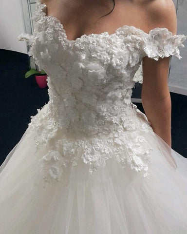 Image of 2019-Wedding-Dresses-Ball-Gowns-Off-The-Shoulder-Bride-Dresses-Lace-Flowers-Beaded