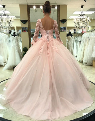 Image of Pink Lace Appliques Ball Gowns Quinceanera Dresses Long Sleeves
