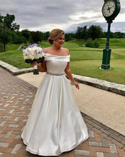 Load image into Gallery viewer, Ivory Satin Off Shoulder Wedding Dresses A Line Beaded Sashes