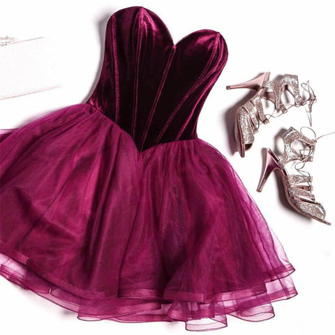 Image of Velvet Sweetheart Bodice Corset Tulle Homecoming Dresses 2017 Short Prom Gowns