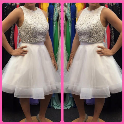 Image of Sequins Beaded Top White Organza Ruffles Homecoming Dresses Two Piece
