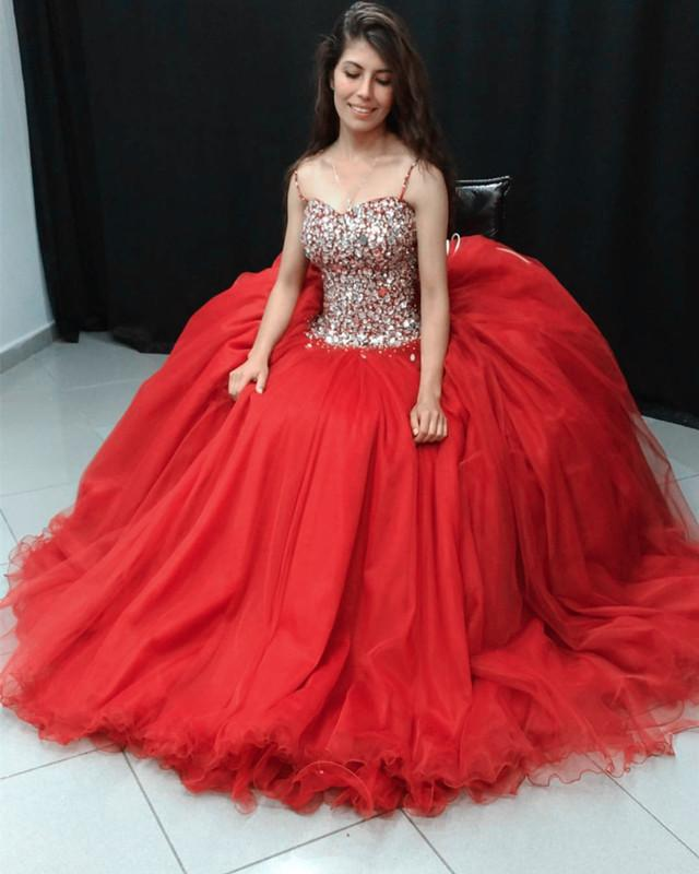 Stunning Crystal Beaded Organza Ruffles Ball Gowns Quinceanera Dresses