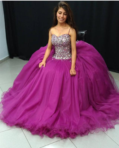 Image of Stunning Crystal Beaded Organza Ruffles Ball Gowns Quinceanera Dresses