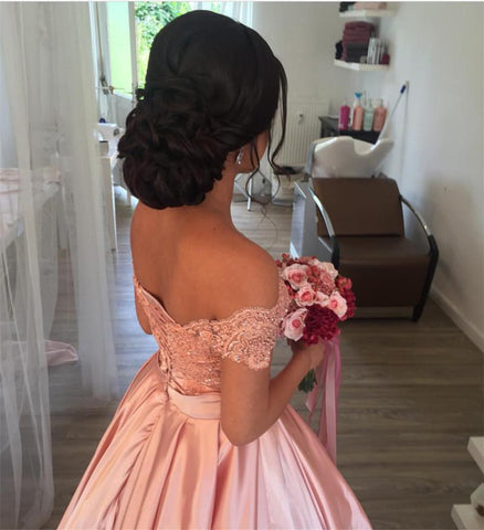 Image of Off-Shoulder-Quinceanera-Dresses-Pink-Ballgowns-For-Sweet-16