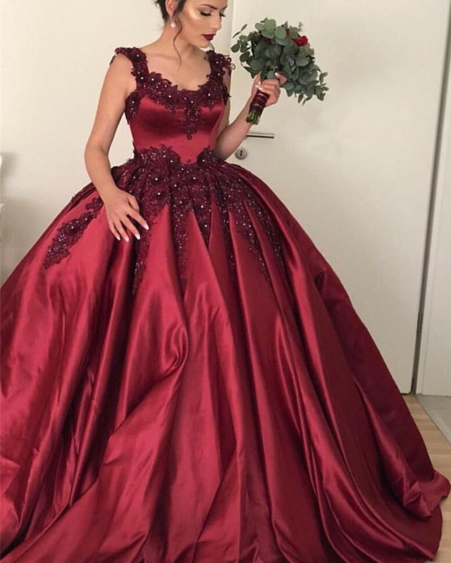 Lace Beaded Sweetheart Satin Ball Gown Maroon Wedding Dresses
