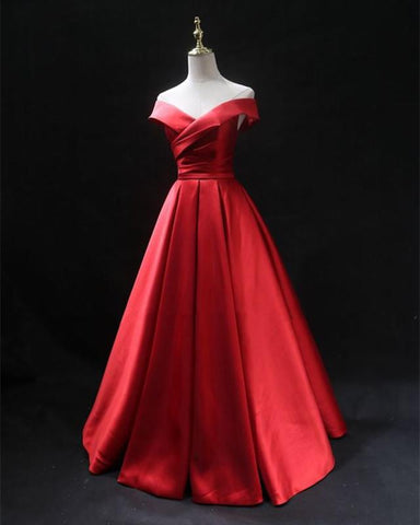 Image of Long-Red-Evening-Dresses-Satin-Prom-Gowns