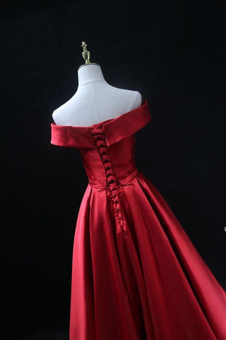 Image of Long-Red-Formal-Evening-Gowns-Off-The-Shoulder-Prom-Dresses