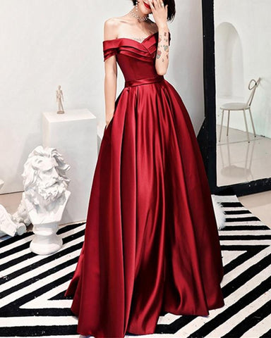Image of 2019-Prom-Dresses-Long-Satin-Burgundy-Formal-Evening-Gowns