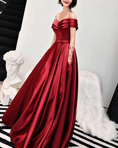 Image of Off-Shoulder-Prom-Long-Dresses-Sexy-Formal-Evening-Gowns