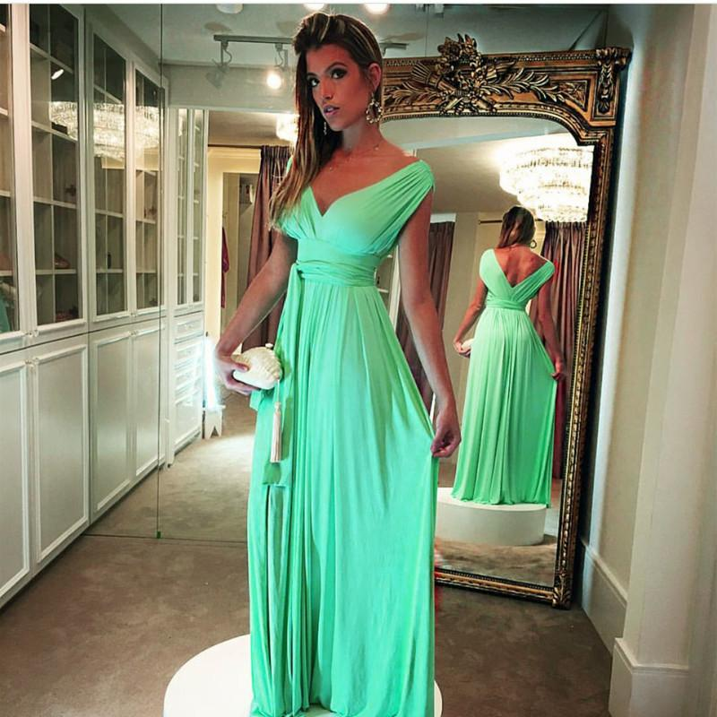 Long Chiffon V Neck Off Shoulder Turquoise Prom Dresses