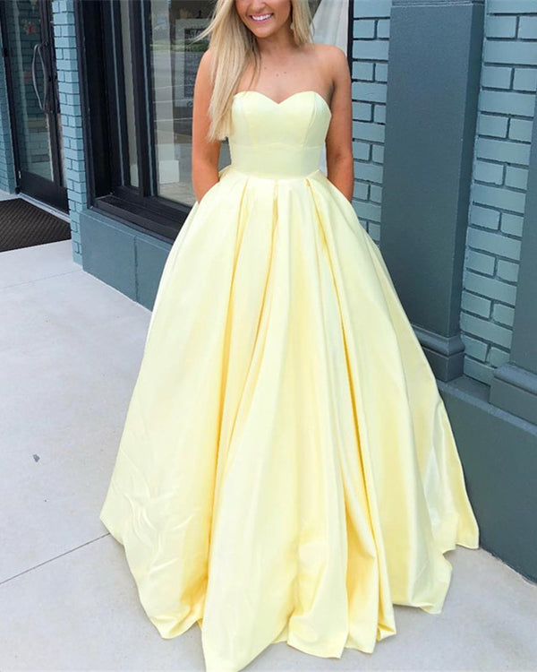 Sweetheart Bodice Corset Satin Floor Length Ballgowns Prom Dresses 2019