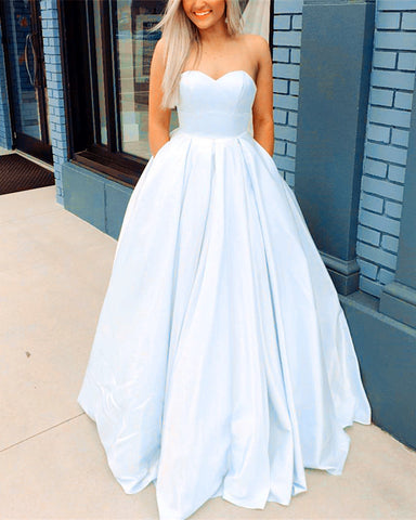 Image of Sweetheart Bodice Corset Satin Floor Length Ballgowns Prom Dresses 2019