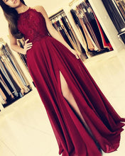 Load image into Gallery viewer, Elegant Lace Halter Long Chiffon Bridesmaid Dresses Leg Slit