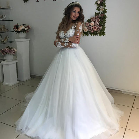 Image of Elegant Lace Appliques Long Sleeves Wedding Dresses Ball Gowns