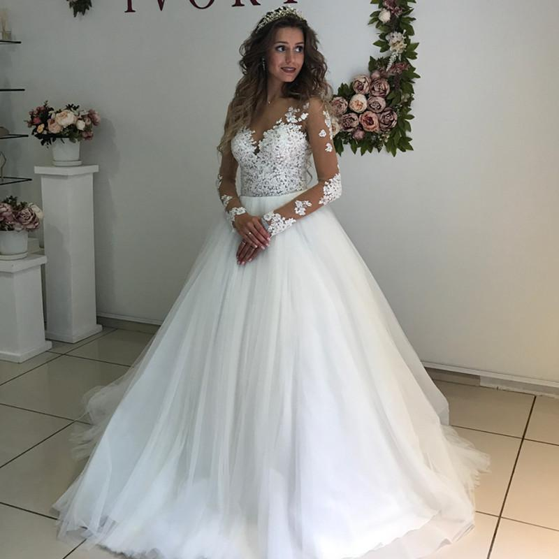 Elegant Lace Appliques Long Sleeves Wedding Dresses Ball Gowns