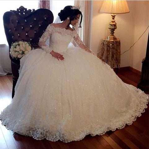 Image of Long-Sleeves-Wedding-Dresses-Lace