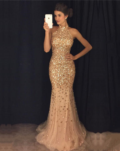 Image of Crystal-Beaded-Prom-Dresses