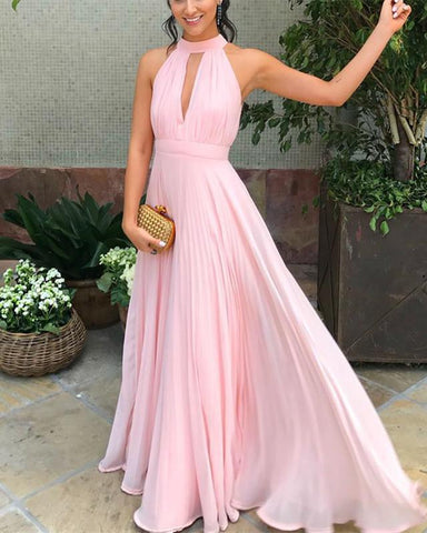 Image of A-line Halter Neck Pleated Chiffon Floor Length Bridesmaid Dresses