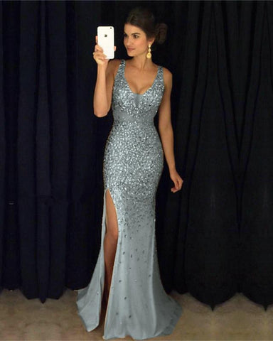 Image of Silver-Gray-Prom-Dresses-2019-Crystal-Beaded-Mermaid-Evening-Gowns