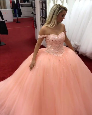 Image of Peach-Wedding-Ballgown-Dresses