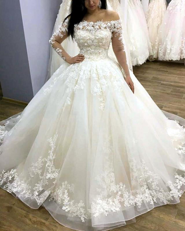 2019-Wedding-Dresses-Ball-Gowns-Lace-Long-Sleeves