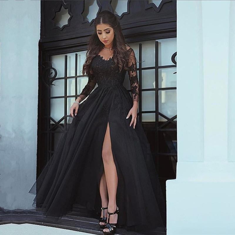 bbe221dc64 Long Sleeves V Neck Black Formal Dresses Lace Appliques Prom Gowns. Double  tap to zoom