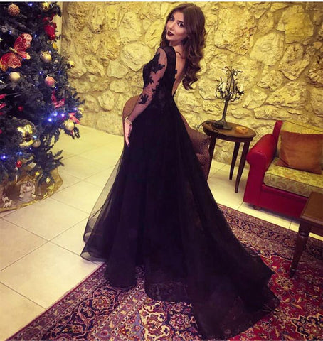Image of Long Sleeves V Neck Black Formal Dresses Lace Appliques Prom Gowns