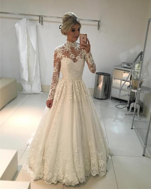 High-Neck-Long-Sleeves-Lace-Wedding-Dresses-Vintage