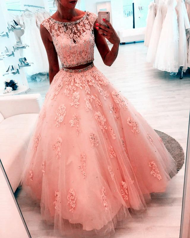 Beaded Scoop Neckline Lace Crop Tulle Ball Gowns Quinceanera Dresses Two Piece