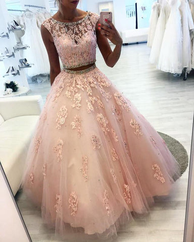 Image of Beaded Scoop Neckline Lace Crop Tulle Ball Gowns Quinceanera Dresses Two Piece