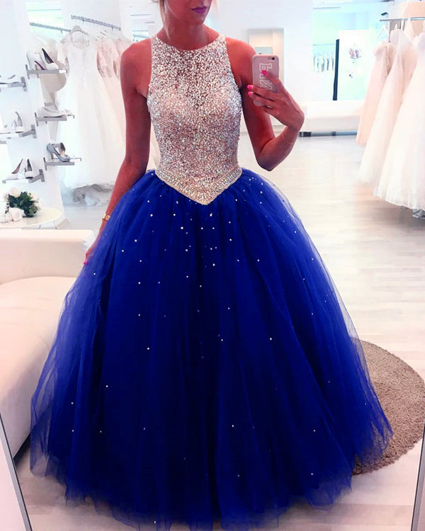 Sequin Beaded Scoop Neckline Tulle Backless Quinceanera Dresses Ball Gowns