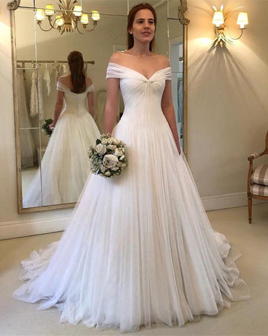 Image of Romantic-A-line-Tulle-Wedding-Gowns-Floor-Length-2019