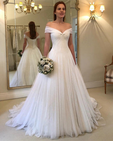 Image of Off-The-Shoulder-Tulle-Wedding-Gowns-2019-Sexy-Bridal-Gowns