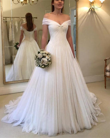 Image of Vintage-Tulle-V-neck-Wedding-Dresses-2019-Princess-Bridal-Gowns