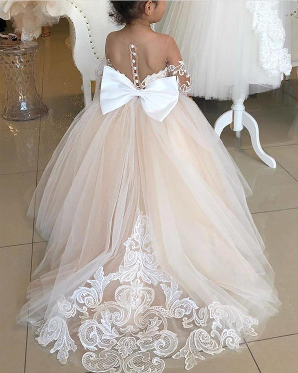 Illusion Neckline Bow Back Ball Gowns Flower Dresses Lace Appliques