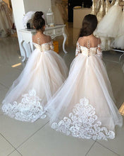 Load image into Gallery viewer, Illusion Neckline Bow Back Ball Gowns Flower Dresses Lace Appliques