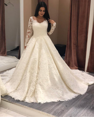 Image of Sheer Neckline Long Sleeves Lace Wedding Dresses Ball Gowns