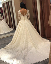 Afbeelding in Gallery-weergave laden, Sheer Neckline Long Sleeves Lace Wedding Dresses Ball Gowns