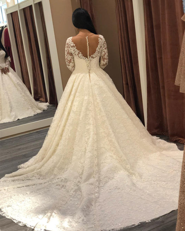 Sheer Neckline Long Sleeves Lace Wedding Dresses Ball Gowns