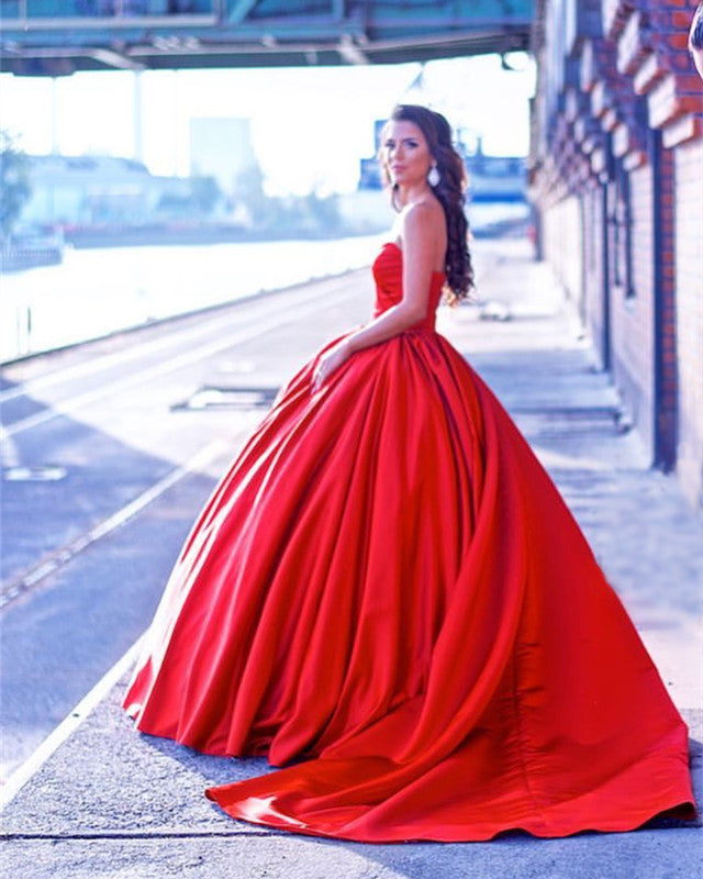 Red Wedding Dresses Ball Gowns Satin Sweetheart Bride Dress