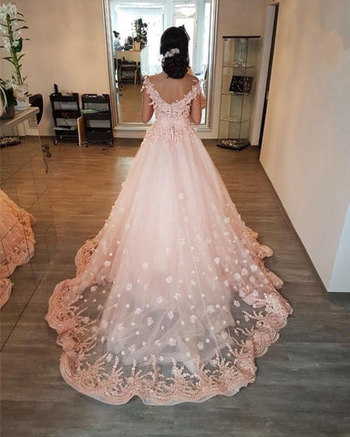 Image of Peach-Lace-Wedding-Dresses