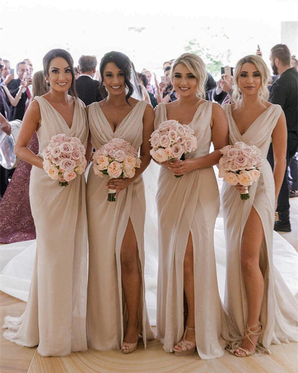 Sexy V-neck Long Tulle Mermaid Bridesmaid Dresses Leg Split