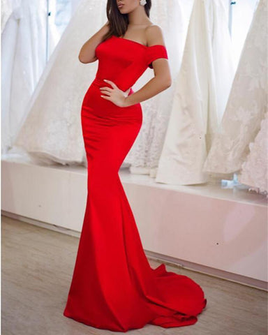 Image of Red-Evening-Dresses-Mermaid
