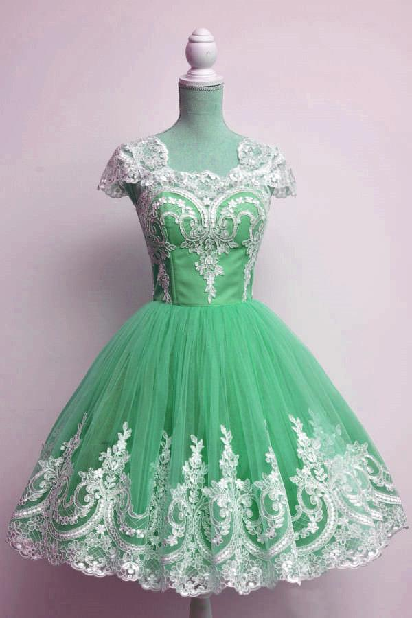 Vintage 1950s Style Tulle Swing Party Dress Lace Cap Sleeves